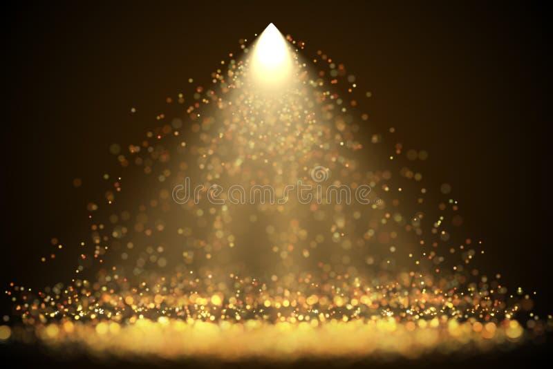 Яркая фара с падая накаляя sparkles иллюстрация вектора