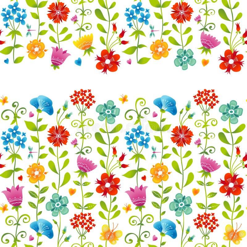 Яркая флористическая безшовная граница с бабочкой. бесплатная иллюстрация