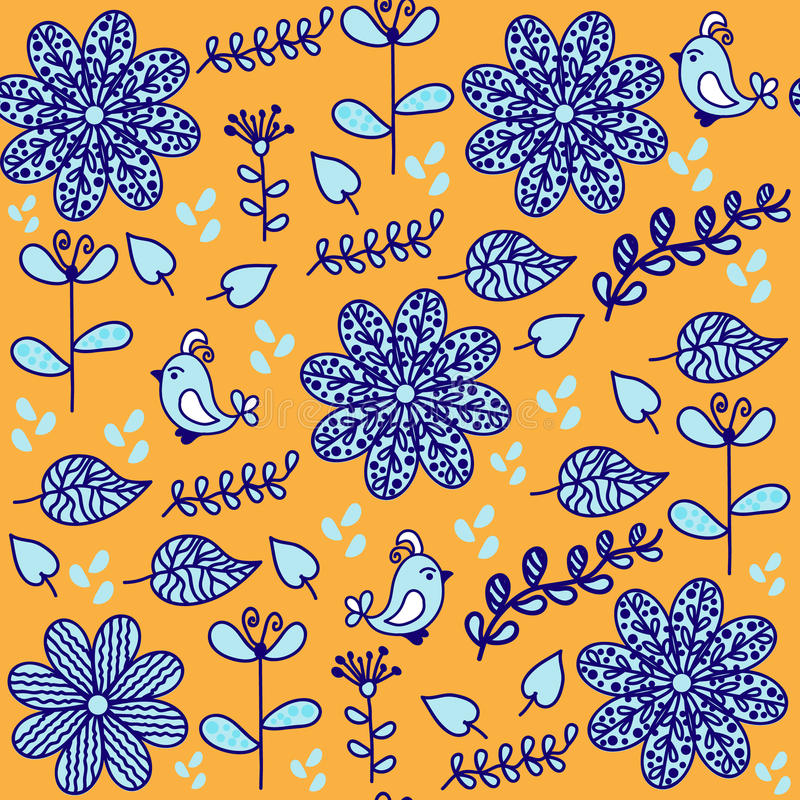 Яркая флористическая безшовная картина с милыми птицами и безшовным Пэт бесплатная иллюстрация
