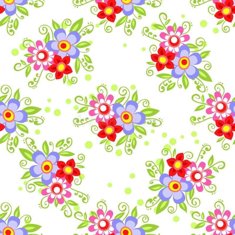 яркая флористическая картина безшовная иллюстрация вектора