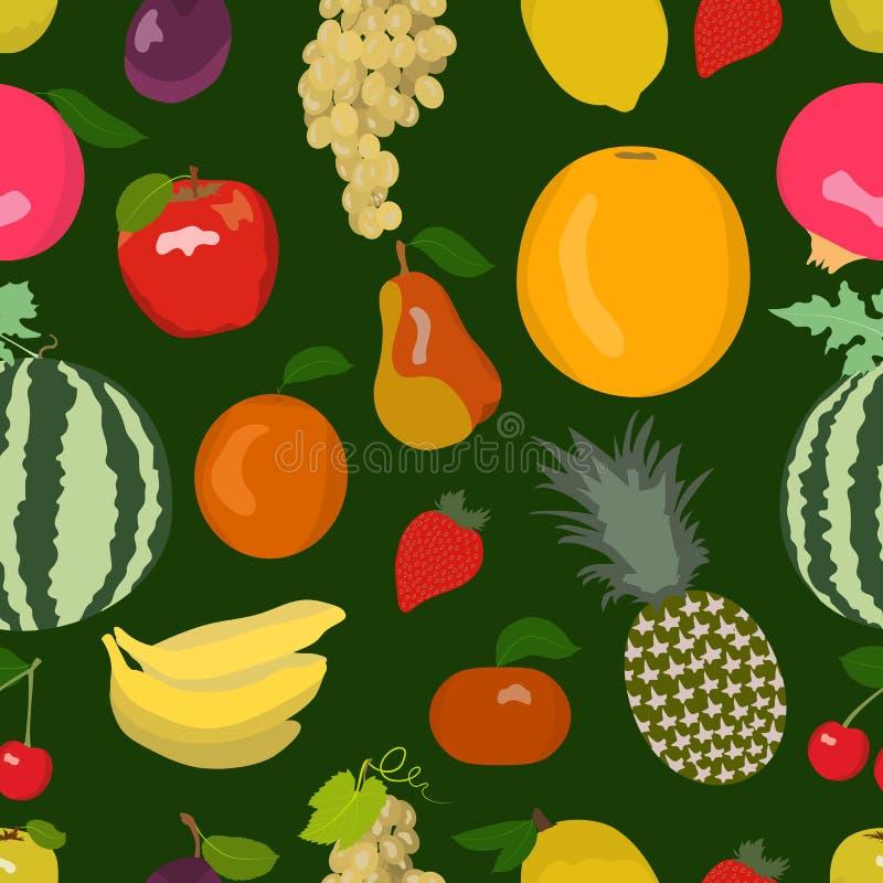Яркая fruity безшовная картина состоя из различных плодоовощей иллюстрация вектора