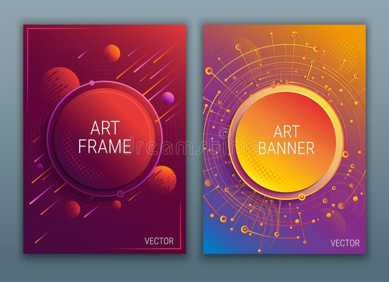 Яркие абстрактные векториальные крышки конструируют плакат Пурпурные и красные градиенты Геометрические диаграммы и место для тек бесплатная иллюстрация