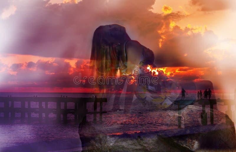 Яркие впечатления около каникулы на море стоковое изображение rf