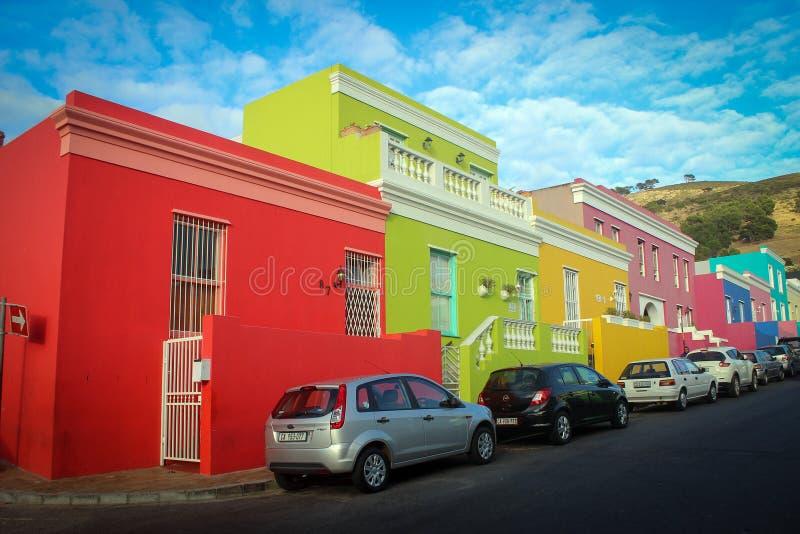 Яркие дома района bo-Kaap стоковое изображение rf