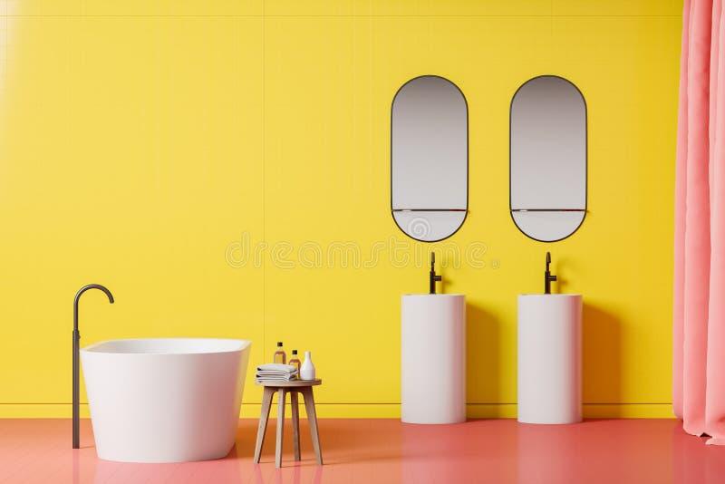 Яркие желтые интерьер, ушат и раковины bathroom иллюстрация вектора