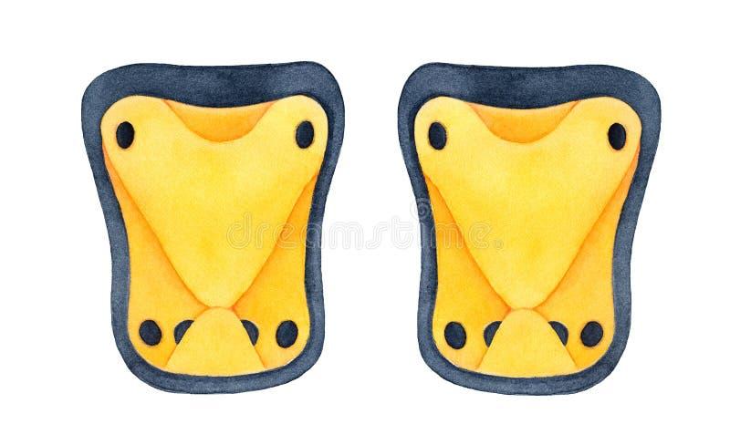 Яркие желтые пусковые площадки колена и локтя для различных на открытом воздухе multi деятельностей при спорта как велосипед, sco иллюстрация штока