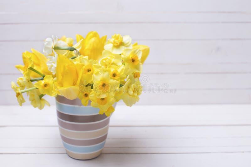 Яркие желтые daffodils весны цветут в чашке на белом деревянном b стоковое изображение