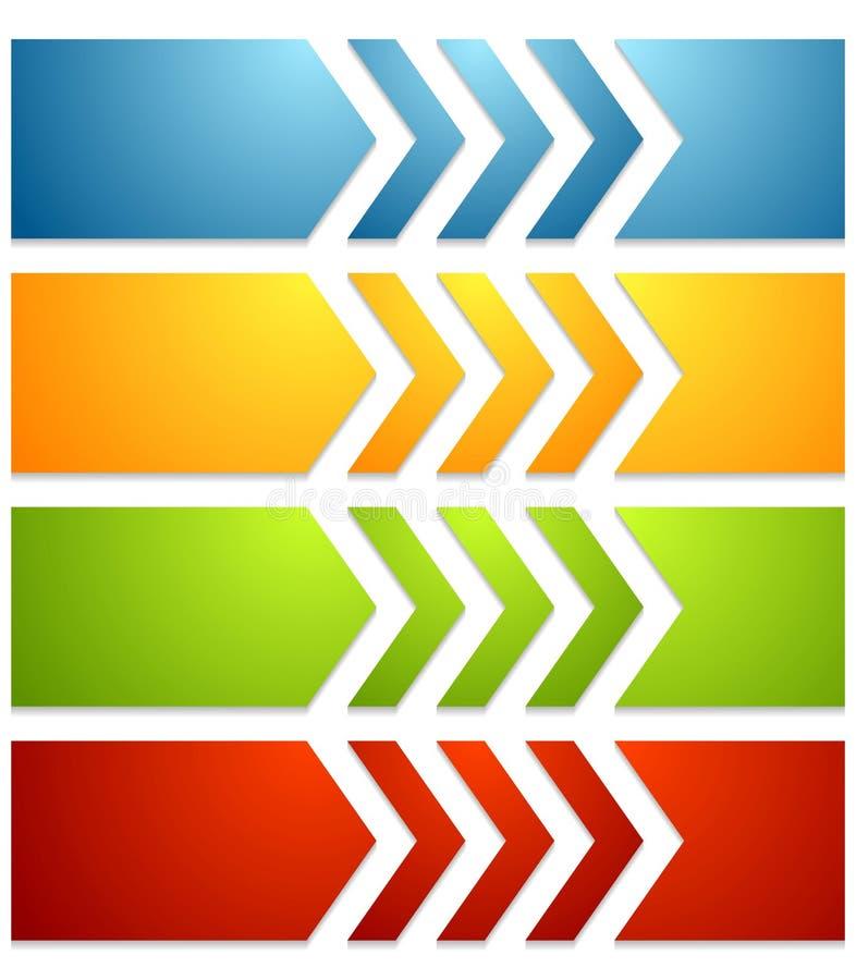 Яркие знамена сети техника с стрелками иллюстрация штока
