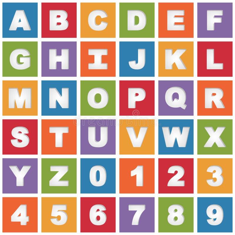 Яркие значки алфавита иллюстрация вектора
