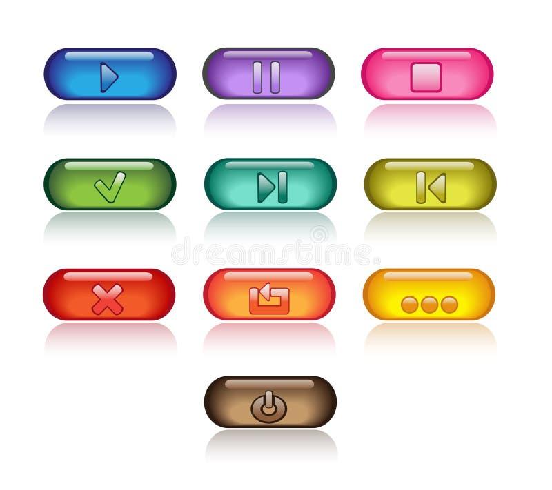 яркие кнопки контролируют серии прозрачные иллюстрация вектора