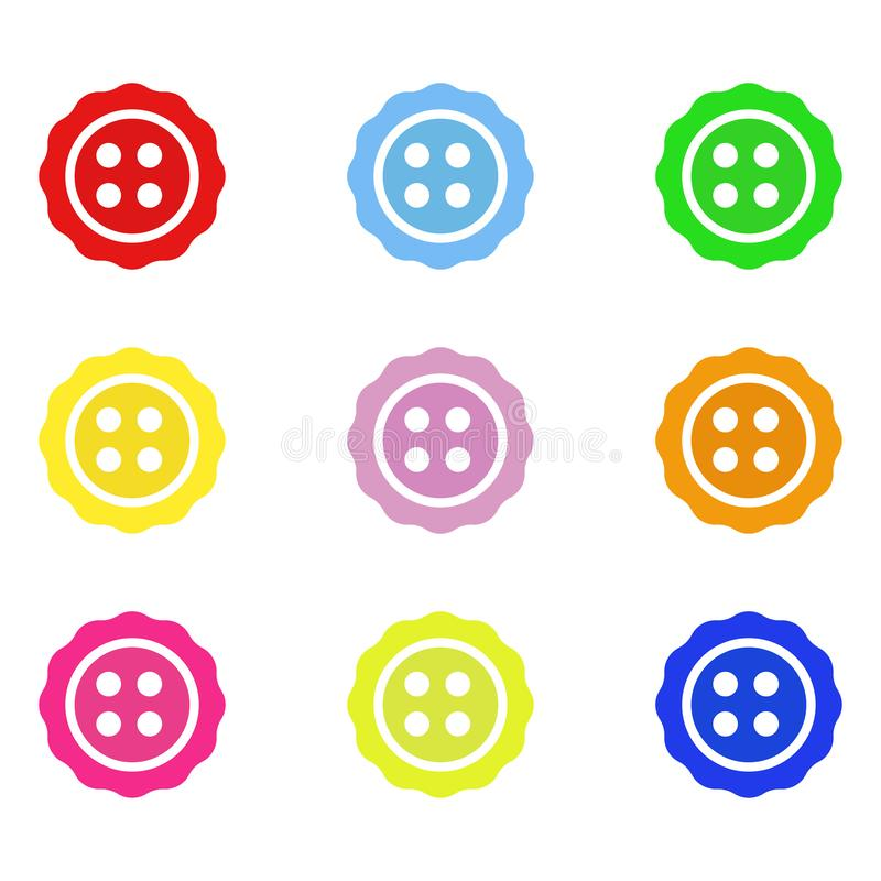 Яркие кнопки цвета Установите кнопок для одежд также вектор иллюстрации притяжки corel 10 eps иллюстрация штока