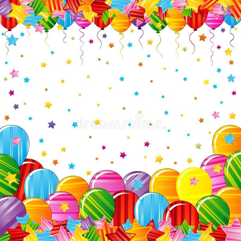 Яркие красочные звезды и граница воздушных шаров на белой предпосылке Праздничный плакат вектора дня рождения иллюстрация вектора