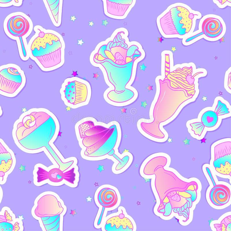 Яркие красочные значки печенья хлебопекарни и десерта милые Безшовный p иллюстрация штока