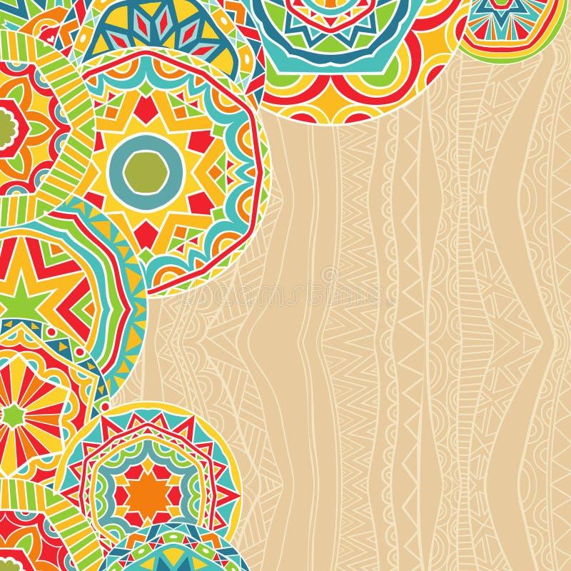 Яркие круги на этническом происхождении иллюстрация вектора