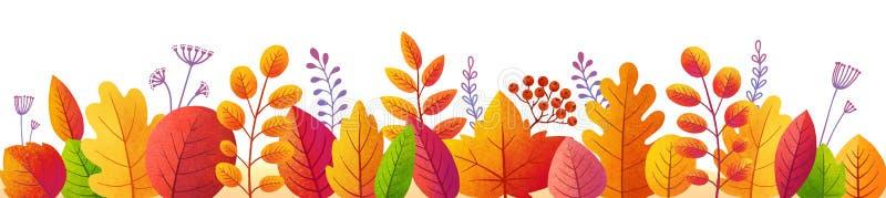 Яркие листья осени в текстурированном плоском стиле, vector красочная граница листопада бесплатная иллюстрация