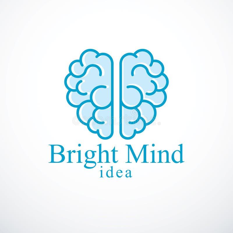 Яркие логотип или значок вектора разума с человеческим анатомическим мозгом Thi иллюстрация штока
