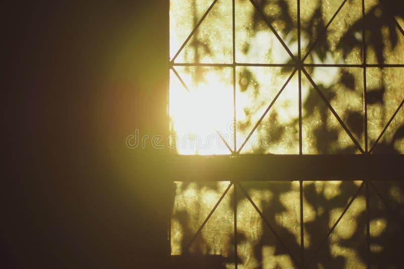 Яркие лучи солнца освещают комнату через старое окно стоковые изображения