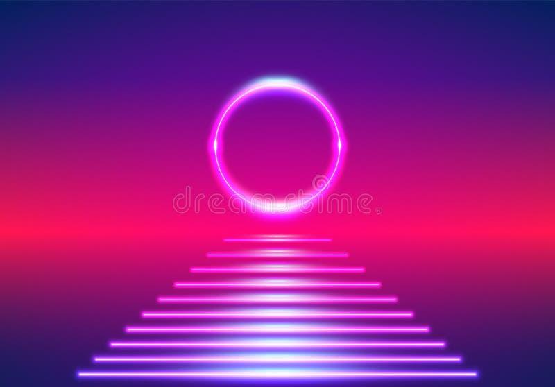 Яркие неоновые линии 80-х годов фонового излучения: ретро-солнечный восхождение или закат на цифровом море с заходом солнца иллюстрация вектора