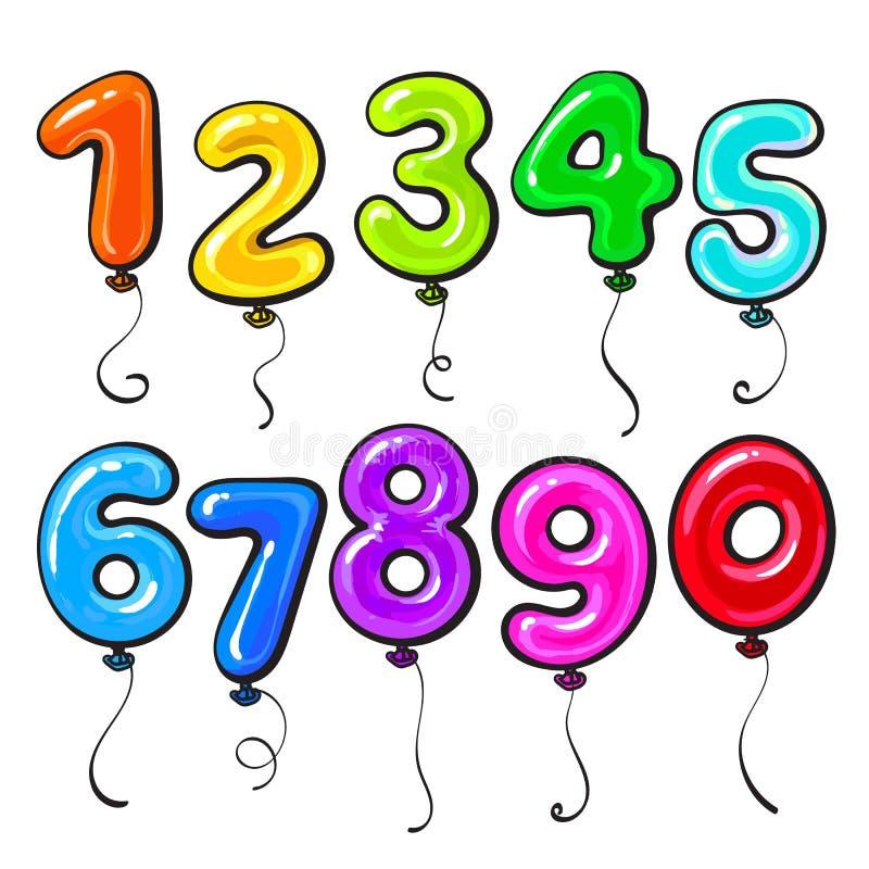 Яркие номера форменные и лоснистые красочные воздушные шары бесплатная иллюстрация