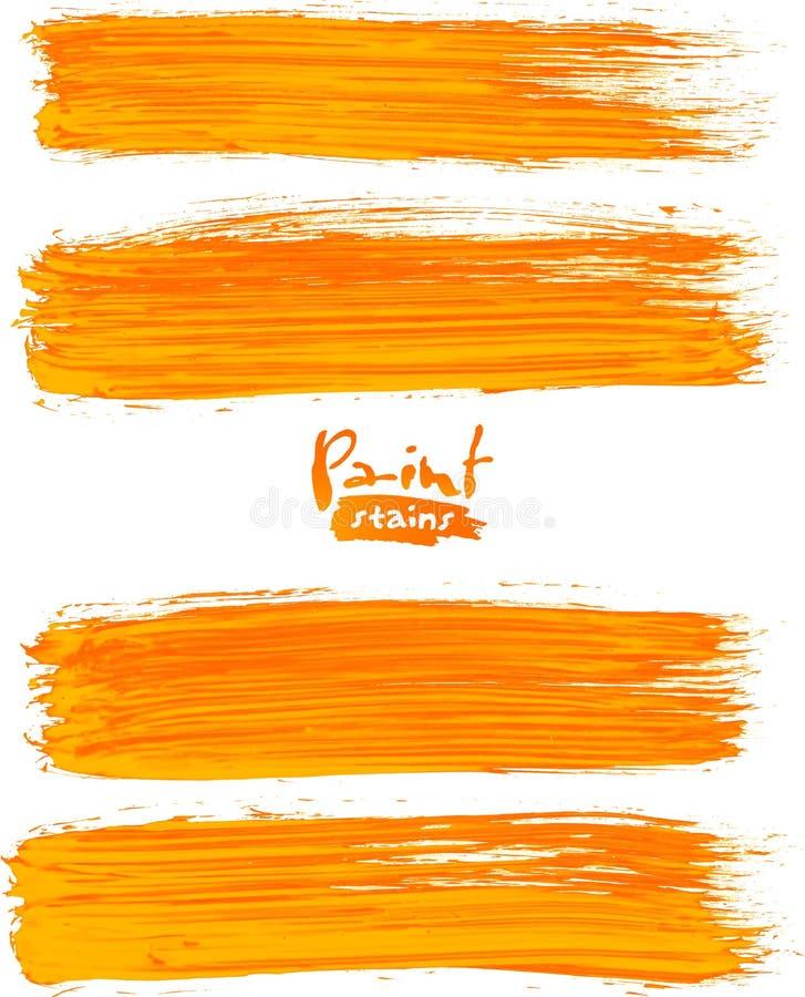 Яркие оранжевые акриловые ходы щетки иллюстрация штока