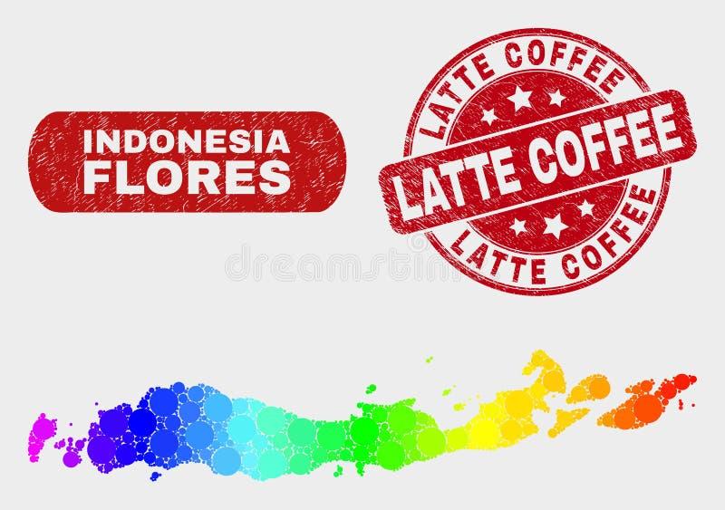 Яркие острова Flores мозаики карты Индонезии и уплотнения кофе Latte дистресса иллюстрация вектора