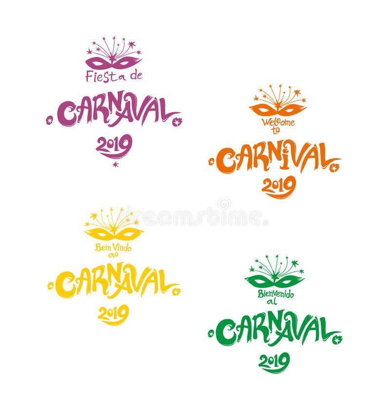 Яркие пестротканые логотипы масленицы в 3 языках, английских языках, испанский и португальский Логотип в масленице, Carnaval бесплатная иллюстрация