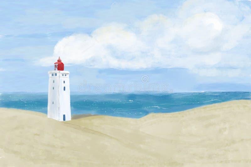 Яркие песчанные дюны пляжа с известным датским маяком ориентира с предпосылкой голубого неба Маяк Rubjerg Knude, Lønstrup бесплатная иллюстрация