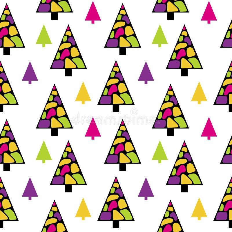 Яркие рождественские елки в стиле Мемфиса Мозаика бесплатная иллюстрация