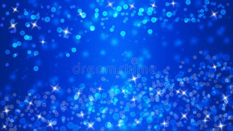 Яркие света, Bokeh и блестящее сверкнают в голубой предпосылке иллюстрация вектора