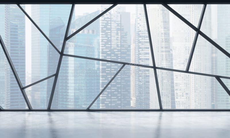 Яркие современные панорамные пустые размеры офиса с взглядом Сингапура Концепция сильно профессионального финансового или законно иллюстрация штока