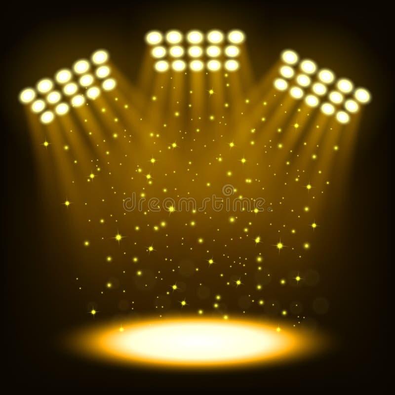 Яркие фары стадиона на темной предпосылке золота иллюстрация вектора