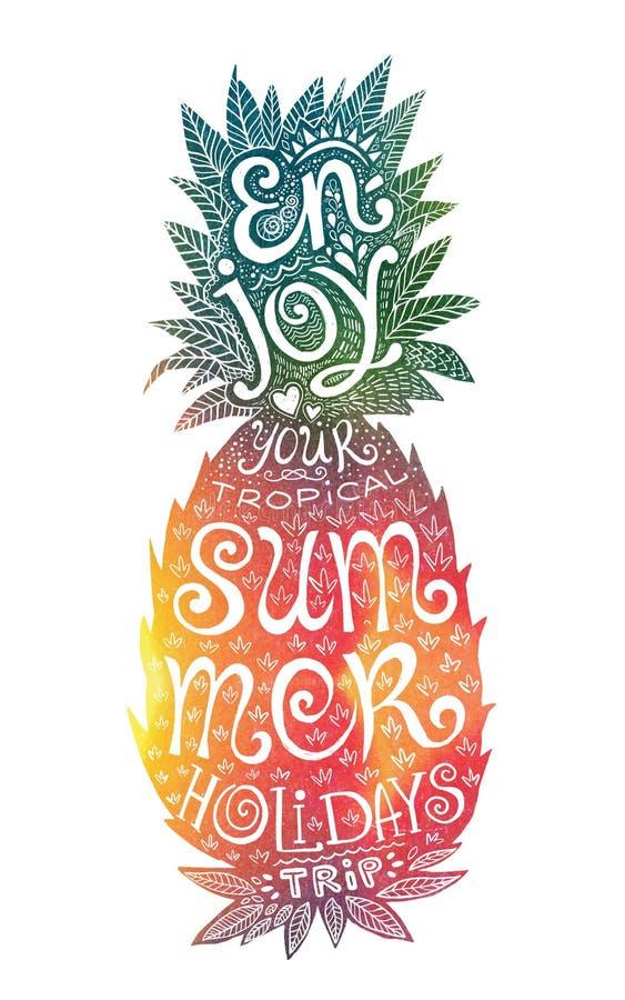 Яркие цвета вручают вычерченный силуэт ананаса акварели с литерностью grunge внутрь иллюстрация штока
