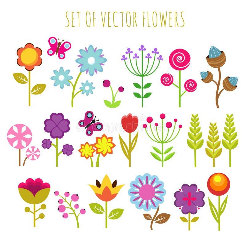 Яркие цветки сада ребенка и комплект вектора бабочки иллюстрация вектора