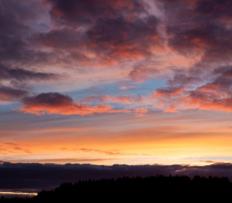 Яркий ландшафт неба захода солнца стоковые фото