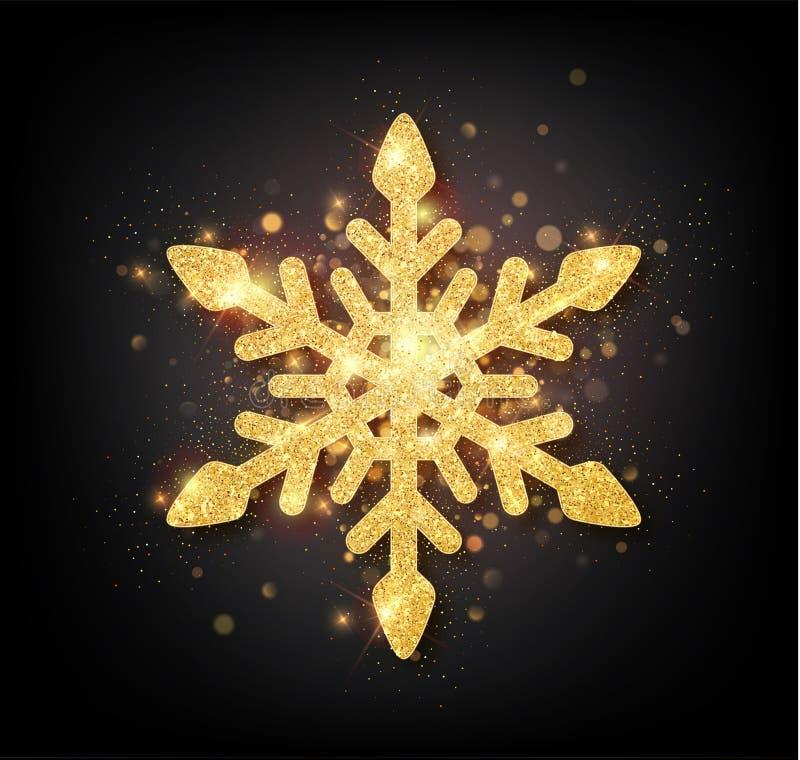 Яркий блеск предусматривал снежинку золота с на прозрачной предпосылкой Поздравительная открытка, Новый Год приглашения счастливы иллюстрация штока