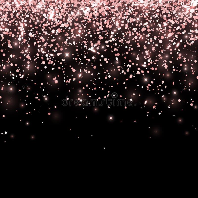 Яркий блеск розового золота понижаясь на черной предпосылке вектор иллюстрация вектора