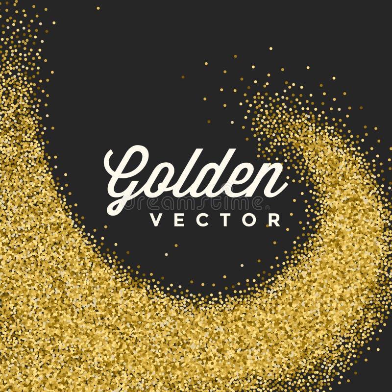 Яркий блеск золота сверкнает яркий вектор черноты Confetti иллюстрация штока
