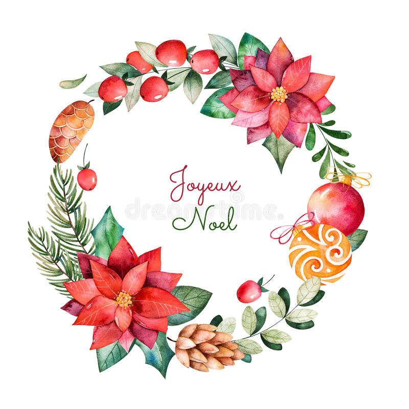 Яркий венок с листьями, ветвями, елью, шариками рождества иллюстрация вектора