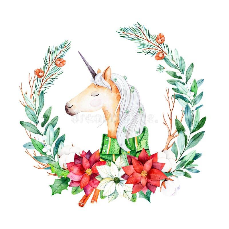 Яркий венок с листьями, ветвями, елью, цветками хлопка, poinsettia и милым единорогом с шарфом зимы иллюстрация вектора