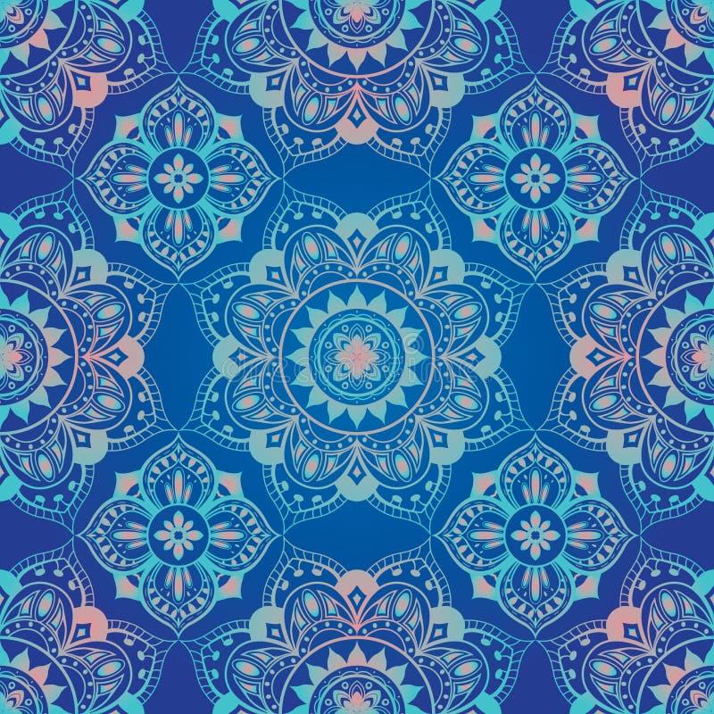Яркий, голубой, безшовный восточный орнамент иллюстрация вектора