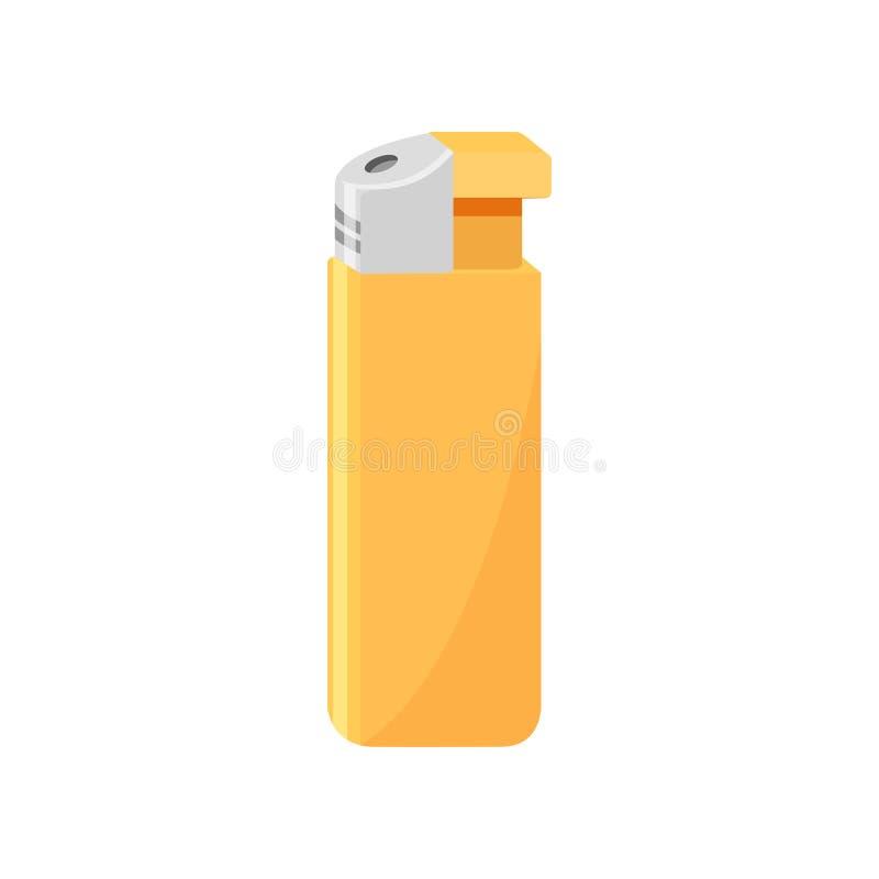 Яркий желтый лихтер газа Деталь связанный к куря теме Малый карманный прибор Изолированный плоский значок вектора бесплатная иллюстрация