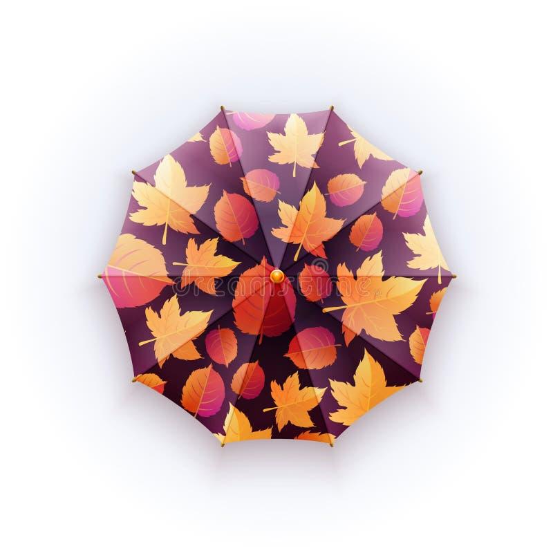 Яркий зонтик осени на белой предпосылке Предохранение против дождя Прогулки на открытом воздухе картина листьев осени бесплатная иллюстрация