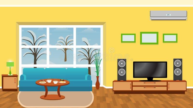 Яркий интерьер живущей комнаты с современной мебелью и зима благоустраивают вне окна иллюстрация штока