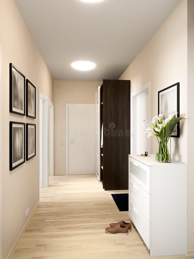 Яркий и уютный дизайн интерьера залы иллюстрация штока