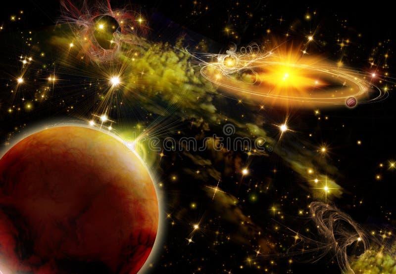 яркий космос иллюстрация вектора