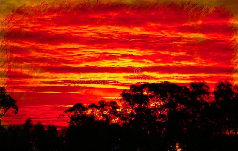 Яркий красный заход солнца стоковое изображение rf
