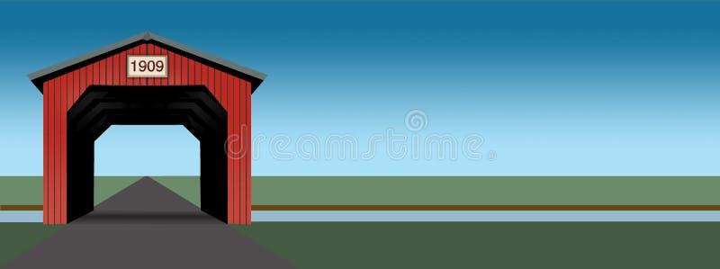 Яркий красный крытый мост увиден в иллюстрации которая имеет чистые простые линии и яркие цвета стоковая фотография