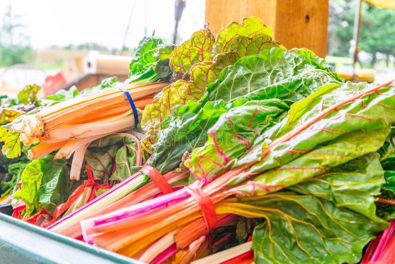 Яркий, красочный оранжевый, зеленый, белый и красный сады, с зелеными листьями, в пучках, продаются на фермерском рынке стоковое изображение