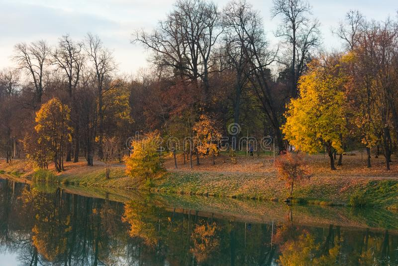Яркий ландшафт осени с парком и озером стоковая фотография