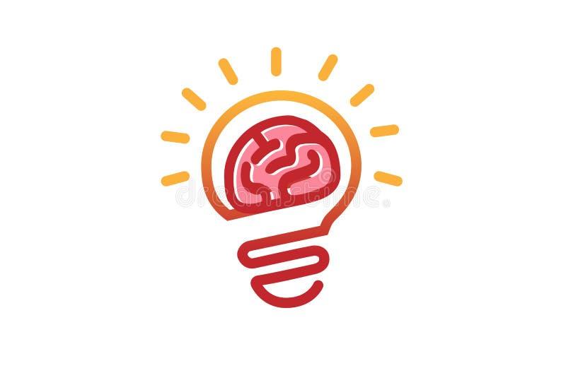 Яркий логотип лампы мозга иллюстрация вектора